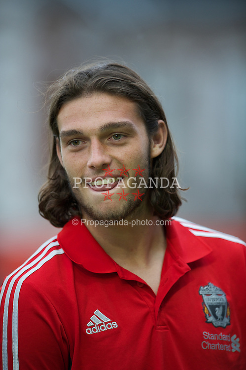 EXETER, ENGLAND - Wednesday, August 24, 2011: Liverpool's Andy Carroll before the Football League Cup 2nd Round match against Exeter City at St James Park. (Pic by David Rawcliffe/Propaganda)