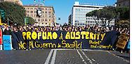 Roma 17 Novembre 2011.Manifestazione degli  studenti medi e universitari, contro il governo Monti .Sullo striscione è scritto: «Profumo di austerity. No al governo dei sacrifici»..