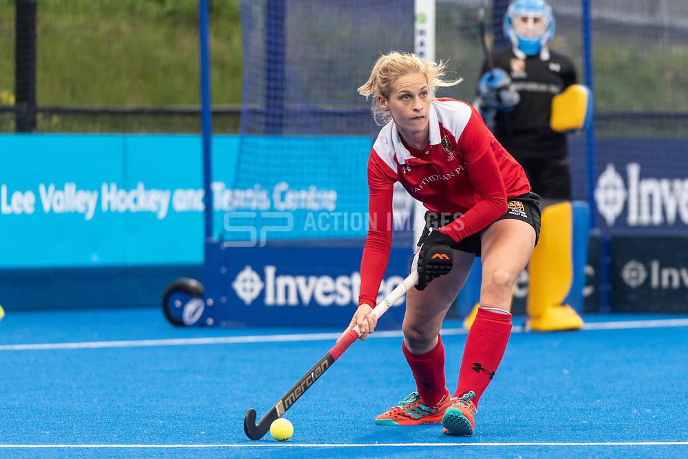 Holcombe's Leah Wilkinson. Holcombe v Surbiton - Investec Women's Hockey League Final, Lee Valley Hockey & Tennis Centre, London, UK on 29 April 2018. Photo: Simon Parker