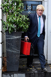 ©  London News Pictures. 16/10/2016. London, UK. British foreign secretary BORIS JOHNSON leaving his London home on the morning that a pro EU article he wrote was published in a Sunday newspaper. Photo credit: Ben Cawthra/LNP