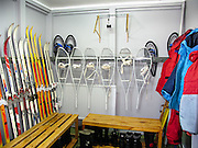 "Snowshoes, skiis, and boots equip Vernadsky Research Base (Akademik Vernadsky), a Ukrainian Antarctic Station at Marina Point on Galindez Island in the Argentine Islands, Antarctica. The United Kingdom first established research here as Base F or ""Argentine Islands"" on Winter Island in 1947, then built a larger hut on Galindez Island in 1954, renamed it Faraday Station in 1977, and shocked the scientific community by discovering the Antarctic ""ozone hole"" in 1985. The base was transferred to Ukraine in 1996."
