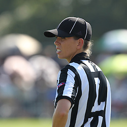 August 6, 2011; Metairie, LA, USA; Female official Sarah Thomas during training camp practice at the New Orleans Saints practice facility.