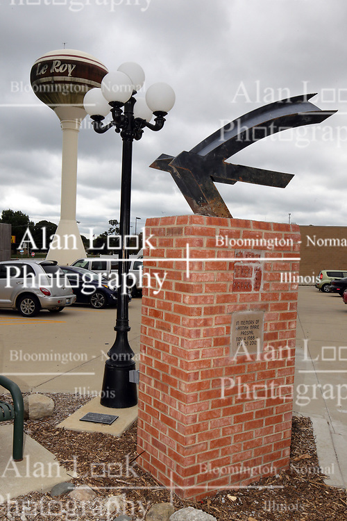 """McLean County Illinois monuments and landmarks<br /> <br /> """"The Bird"""" is an artwork located at HOW Park on the main street in LeRoy Illinois.  The artwork is a donation as well as the brick standard and the labor.  The work is in memory of Hannah Prospal."""