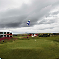 Picture by Christian Cooksey/CookseyPix.com.<br /> Ricoh Women's British Open. A new giant saltire flag measuring 23 feet by 17 and half feet dominates the area at the 1st tee at Trump Turnberry. Trump Turnberry this week plays host to the Ricoh Women's British Open. Repro fee payable. Credit CookseyPix.com