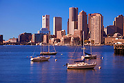 Image of the downtown financial district and skyline of Boston, Massachusetts from inner Boston Harbor, New England
