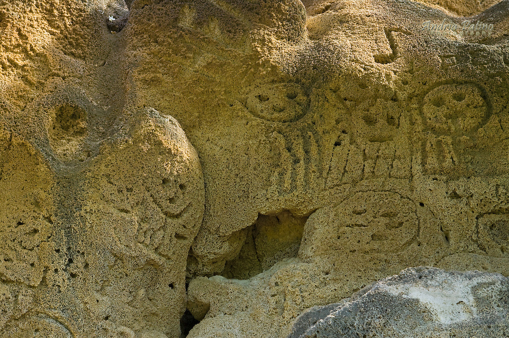 """Las Caritas (""""The faces"""") collection of Indian inscriptions in a rock formation looking out over Lake Enriquillo"""
