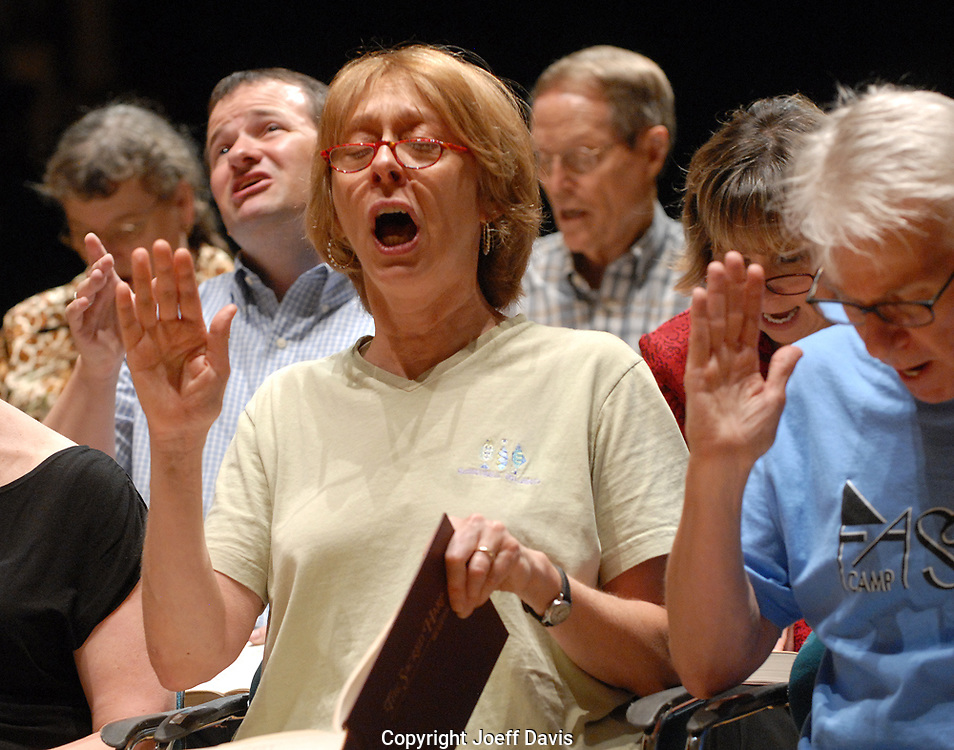 """Sacred Harp singers from around Georgia gathered for the """"All Day Sacred Harp Singing at Spivey Hall"""" at Clayton State University in Morrow. More than 65 people attended the all-day event. Singers take turns leading the group in pieces from a songbook first published in Georgia in 1844."""