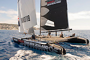 Emirates Team New Zealand rounding the top mark. Extreme Sailing Series Practice day in Nice. 1/10/2014