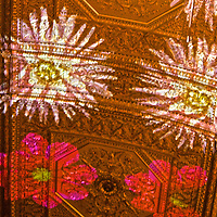 Images of Flowers caress the gold leaf ceiling of Villard's.