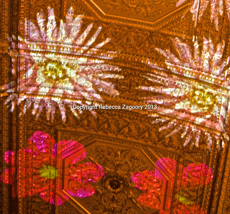 Images of Flowers caress the gold leaf ceiling of Villard's.