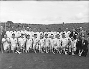 All Ireland Senior Hurling Championship - Final,.1091957AISHCF,.01.09.1957, 09.01.1957, 1st September 1957,..Kilkenny 04-10  Waterford 03-12,...Waterford Team (runners up) ,.Back row (from left) Joe Harney, Tom Cheasty, John Barron, Mick Lacey, Billy Dooley, Ned Power, Martin Og Morrissey, Billy Dunphy, Larry Guinan, Johnny O'Connor. Front Row (from left) John Kelly, Tom Cunningham, Mickey O'Connor, Mick Flannelly, Philly Grimes, Dick Roches, Austin Flynn, Seamus Power, Frank Walsh, Donal Whelan, Don Enright,