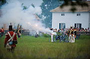 The Battle of Crysler's Farm.  The Battle of Crysler's Farm  Royal Scots skirmishers move out in front of the British line during night battle inside Upper Canada Village.