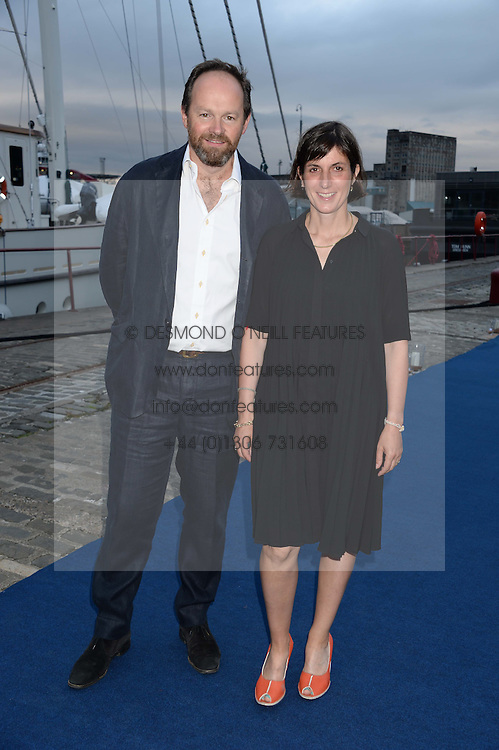 Johnnie Walker Blue Label hosts intimate game changer dinner for 10 Scottish influencers and key arts press aboard the John Walker & Sons Voyager moored at the Prince of Wales Docks, Leith, Edinburgh, Scotland on 14th August 2013.<br /> Picture shows:-Richard & Florence Ingleby owners of the Ingleby Gallery.