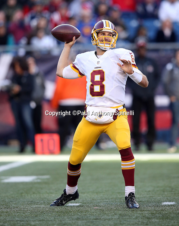 Washington Redskins quarterback Kirk Cousins (8) throws a fourth quarter pass during the 2015 week 9 regular season NFL football game against the New England Patriots on Sunday, Nov. 8, 2015 in Foxborough, Mass. The Patriots won the game 27-10. (©Paul Anthony Spinelli)
