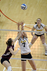 24 November 2006: Stephanie Tokarz block the ball during a Semi-final match between the Missouri State Bears and the Wichita State Shockers. The Tournament was held at Redbird Arena on the campus of Illinois State University in Normal Illinois.<br />