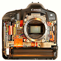 The interior of the Canon 1D camera body, created for a story about the complexity of digital cameras. ©Travis Bell Photography