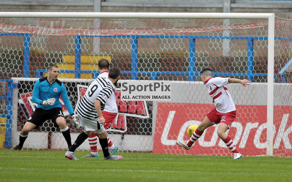John Carter (Queen's Park, 9, black &amp; white) scores the opening goal<br /> <br /> Stirling Albion v Queen's Park, SPFL League 2, 26th September 2015<br /> <br /> (c) Alex Todd | SportPix.org.uk