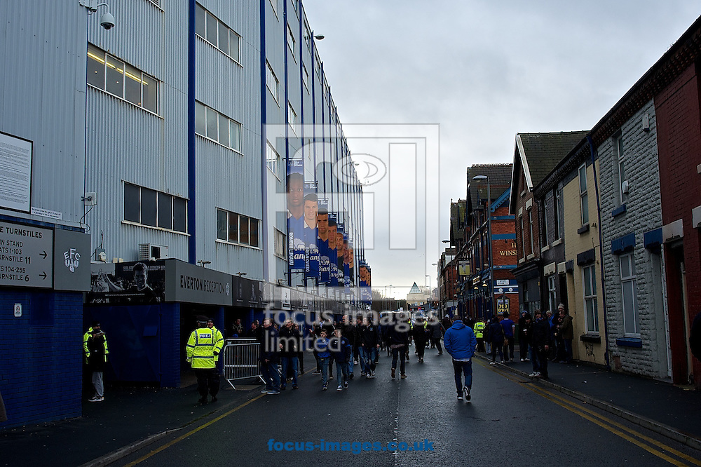 Picture by Ian Wadkins/Focus Images Ltd +44 7877 568959<br /> 01/02/2014<br /> General view of the exterior of the stadium showing fans arriving ahead of the Barclays Premier League match at Goodison Park, Liverpool.