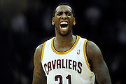Feb. 11, 2011; Cleveland, OH, USA; Cleveland Cavaliers power forward J.J. Hickson (21) celebrates after scoring during the fourth quarter at Quicken Loans Arena. The Cavaliers broke their loosing streak beating the Clipper 126-119 in overtime. Mandatory Credit: Jason Miller-US PRESSWIRE