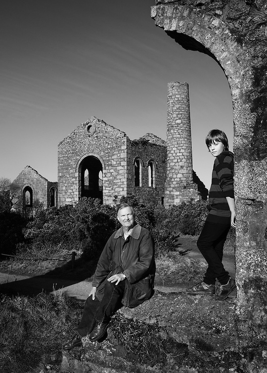 Lawrence Holmes, ex-Chief Mining Surveyor and his grandson Sam, at South Wheal Frances.