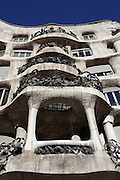 Opened balconies, South Façade, La Pedrera (Casa Milà), Barcelona, Catalonia, Spain, built by Antoni Gaudí (Reus 1852 ? Barcelona 1926), 1906 - 1910, for the Milà Family, with Josep Maria Jujol as architect collaborator and with Joan Beltran as a plaster. One of the main Gaudi residential buildings. Picture by Manuel Cohen