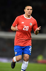 Costa Rica's David Guzman in action during the international friendly match at Hampden Park, Glasgow. RESTRICTIONS: Use subject to restrictions. Editorial use only. Commercial use only with prior written consent of the Scottish FA.
