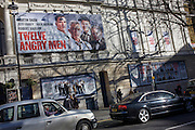 Garrick theatre showing a West End production of Twelve Angry Men on Charing Cross Road.