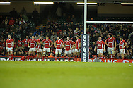 The Welsh players show their dejection as the line up under the posts after Samoa score their final try. Dove Men series, autumn international rugby international, Wales v Samoa at the Millennium stadium,  Cardiff in South Wales on Friday 16th November 2012.  pic by Andrew Orchard, Andrew Orchard sports photography,