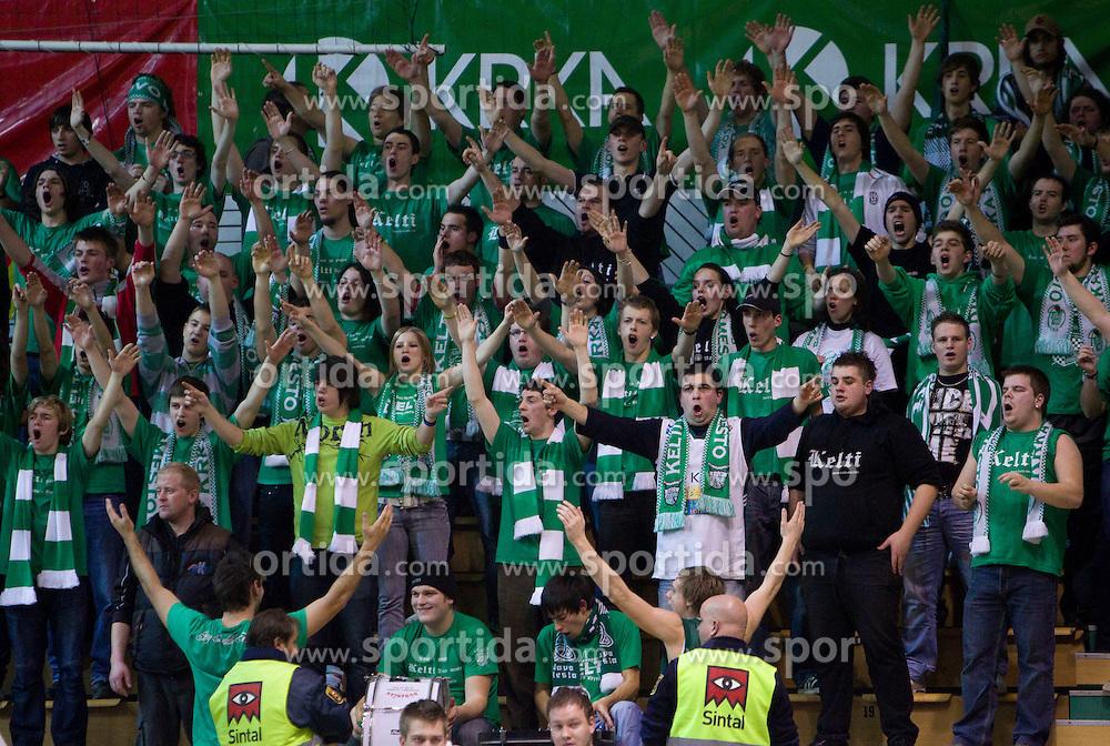 Kelti, fans of Krka during basketball match between KK Krka (SLO) and Union Olimpija (SLO) in 16th Round of NLB Adriatic League, on January 11, 2011 in Arena Leona Stuklja, Novo mesto, Slovenia. Olimpija defeated Krka 80-75. (Photo By Vid Ponikvar / Sportida.com)