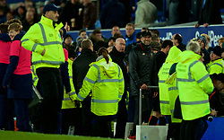 LIVERPOOL, ENGLAND - Sunday, March 3, 2019: Everton's manager Jürgen Klopp smiles as a ball boy (hidden L) sarcastically applauds him and gives a thumbs up sign after the FA Premier League match between Everton FC and Liverpool FC, the 233rd Merseyside Derby, at Goodison Park. The game ended in a 0-0 draw. (Pic by Laura Malkin/Propaganda)
