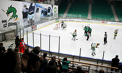 Players of Olimpija celebrate during Ice Hockey match between HK SZ Olimpija and EHC Alge Elastic Lustenau in Semifinal of Alps Hockey League 2018/19, on April 5, 2019, in Arena Tivoli, Ljubljana, Slovenia. Olimpija win the game and qualify to Final of AHL. Photo by Matic Klansek Velej / Sportida