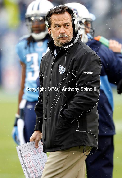 Tennessee Titans head coach Jeff Fisher looks on during the NFL week 13 football game against the Jacksonville Jaguars on Sunday, December 5, 2010 in Nashville, Tennessee. The Jaguars won the game 17-6. (©Paul Anthony Spinelli)