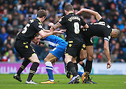 Brighton striker Tomer Hemed is crowded out by the Bolton defence during the Sky Bet Championship match between Brighton and Hove Albion and Bolton Wanderers at the American Express Community Stadium, Brighton and Hove, England on 13 February 2016. Photo by Bennett Dean.