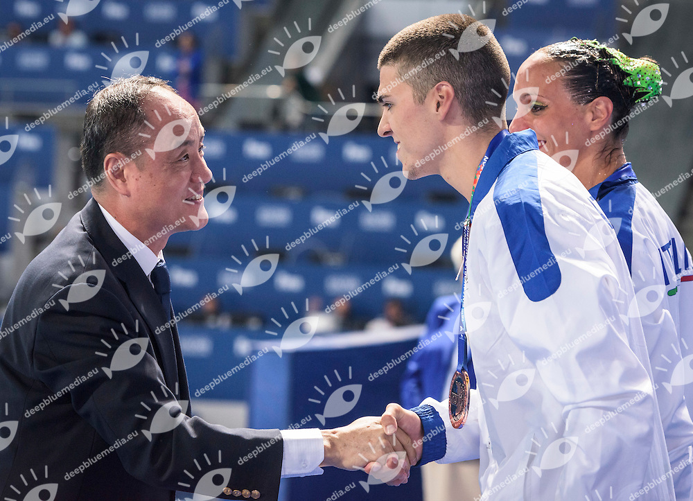 Podium<br /> Bronze Medal<br /> ITA Italy<br /> MINISINI Giorgio<br /> MARIANGELA Perrupato<br /> Zhang Qiu Ping FINA Bureau<br /> Synchro Mix Duet Free Final<br /> Day7 30/07/2015<br /> XVI FINA World Championships Aquatics<br /> Synchro<br /> Kazan Tatarstan RUS July 24 - Aug. 9 2015 <br /> Photo Pasquale Mesiano/Deepbluemedia/Insidefoto