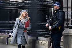© Licensed to London News Pictures. 09/01/2018. London, UK. Work and Pensions Secretary Esther McVey leaving Downing Street after attending a Cabinet meeting this morning. Yesterday British Prime Minister Theresa May reshuffled her cabinet, appointing some new ministers. Photo credit : Tom Nicholson/LNP