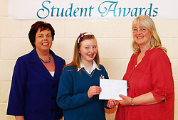 Sancta Maria College's Student Awards,.Anna O'Toole was presented an Irish Language Scholarship award from Dolores Rogers of the Parents Association and Pauline Moran School principal...Pic Conor McKeown