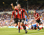 Alan Goodall celebrates his goal, and Morecambe's second during the Sky Bet League 2 match between Portsmouth and Morecambe at Fratton Park, Portsmouth, England on 22 August 2015. Photo by David Charbit.
