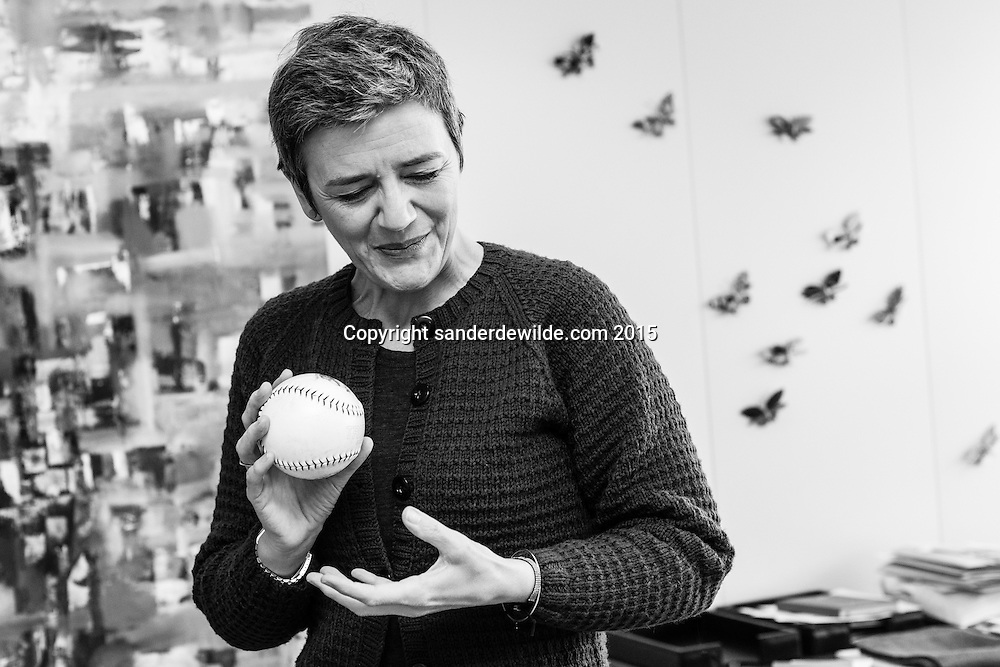 EU competition commissioner Margrethe Vestager photographed during an interview on Google etc. in her  own office in the EC HQ Berlaymont building Brussels on tuesday 17 February 2015  CREDIT: Sander de Wilde
