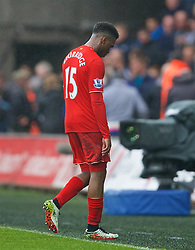 SWANSEA, WALES - Sunday, May 1, 2016: Liverpool's Daniel Sturridge walks off dejected after his side's 3-1 defeat to Swansea City during the Premier League match at the Liberty Stadium. (Pic by David Rawcliffe/Propaganda)
