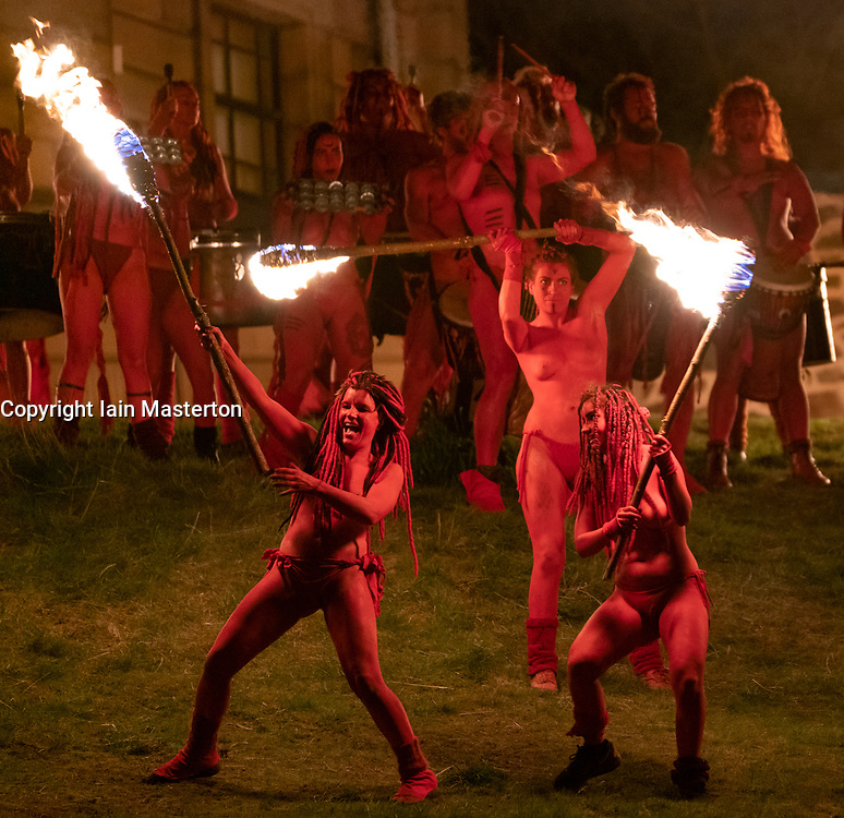 "Edinburgh, Scotland, UK. 30 April, 2019. Beltane Fire Festival ushers in summer on Tuesday 30th April with a spectacular display of fire, immersive theatre, drumming, body paint, and elaborate costumes. Described by some as the ""medieval Burning Man"", this alternative May Day celebration re-imagines the ancient Celtic festival with roughly 300 volunteer performers for thousands of spectators from all over the world on top of Calton Hill in Edinburgh"