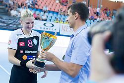 Tamara Mavsar #8 of RK Krim Mercator during handball match between RK Krim Mercator vs ZRK Zelene doline Zalec of Super Cup 2015, on August 29, 2015 in SRC Marina, Portoroz / Portorose, Slovenia. Photo by Urban Urbanc / Sportida