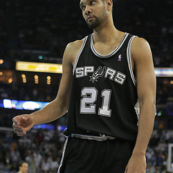 29 March 2009: San Antonio Spurs center Tim Duncan (21) reacts to a play during a 90-86 victory by the New Orleans Hornets over Southwestern Division rivals the San Antonio Spurs at the New Orleans Arena in New Orleans, Louisiana.