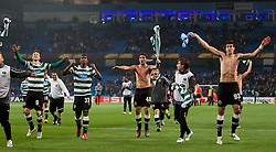 MANCHESTER, ENGLAND - Thursday, March 15, 2012: Sporting Clube de Portugal's Emiliano Insua celebrates his side's 3-2 defeat to Manchester City, meaning that they are through to the next round, after the UEFA Europa League Round of 16 2nd Leg match at City of Manchester Stadium. (Pic by Vegard Grott/Propaganda)