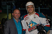 KELOWNA, CANADA - FEBRUARY 17:  Andres Presentation with Calvin Thurkauf #27 of the Kelowna Rockets at the Kelowna Rockets game on February 17, 2017 at Prospera Place in Kelowna, British Columbia, Canada.  (Photo By Cindy Rogers/Nyasa Photography,  *** Local Caption ***