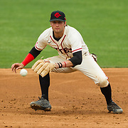 15 April 2018: San Diego State third baseman Casey Schmitt (8) catches a line drive before diving to third to double up Fullerton and end the inning stranding runners on base. The San Diego State baseball team closed out the weekend series against Cal State Fullerton with a 9-6 win at Tony Gwynn Stadium. <br /> More game action at sdsuaztecphotos.com