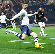 Paul Gallagher crosses during the Sky Bet Championship match between Preston North End and Bolton Wanderers at Deepdale, Preston, England on 31 October 2015. Photo by Pete Burns.