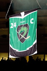 Tomaz Vnuk jersey going to the top of the hall as his number 24 is retired in Tomaz Vnuk's exhibition game between team HDD Tilia Olimpija and team 24 Ever on August 28, in Ljubljana, Slovenia. (Photo by Matic Klansek Velej / Sportida)