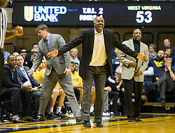 Dec 5, 2015; Morgantown, WV, USA; Kennesaw State Owls head coach Al Skinner argues a call during the second half against the West Virginia Mountaineers at WVU Coliseum. Mandatory Credit: Ben Queen-USA TODAY Sports