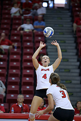 16 AUG 2008:  Erin Lindsey sets the ball for Tabitha Visk during the annual Red-White intra-squad scrimmage at Redbird Arena on the campus of Illinois State University in Normal Illinois.