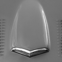 1956 Ford Thunderbird hood detail black and white
